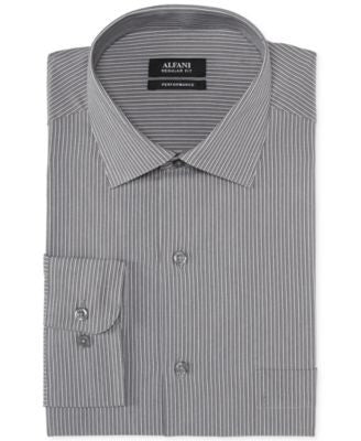 Alfani Classic-Fit Grey Stripe Performance Dress Shirt