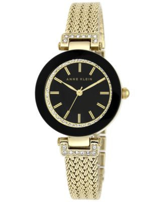 Anne Klein Women's Gold-Tone Stainless Steel Mesh Bracelet Watch 30mm AK/1906BKGB