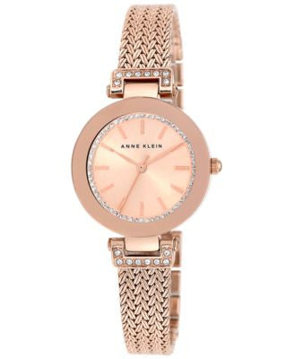 Anne Klein Women's Swarovski Crystal-Accented Rose Gold-Tone Stainless Steel Mesh Bracelet Watch 30m