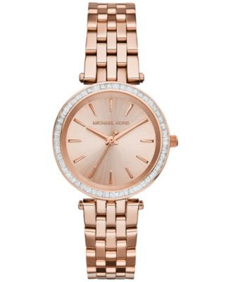 Michael Kors Women's Mini Darci Rose Gold-Tone Stainless Steel Bracelet Watch 33mm MK3366