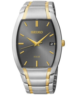 Seiko Men's Solar Two-Tone Stainless Steel Bracelet Watch 35mm SNE334