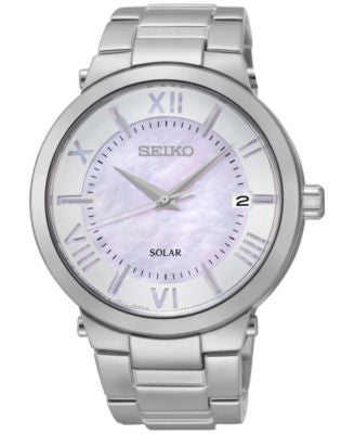 Seiko Women's Solar Stainless Steel Bracelet Watch 39mm SNE885