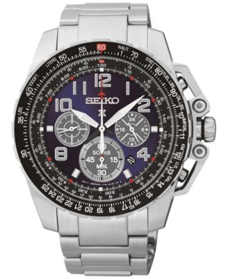 Seiko Men's Chronograph Solar Stainless Steel Bracelet Watch 44mm SSC275