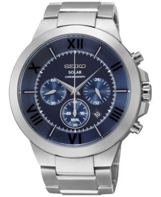 Seiko Men's Chronograph Solar Stainless Steel Bracelet Watch 45mm SSC281