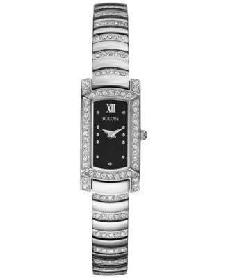 Bulova Women's Crystal Accent Stainless Steel Bracelet Watch 18x15mm 96L202