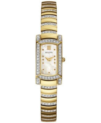 Bulova Women's Crystal Accent Gold-Tone Stainless Steel Bracelet Watch 18x15mm 98L204