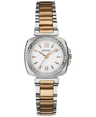 Bulova Women's Diamond Accent Two-Tone Stainless Steel Bracelet Watch 30mm 98R206