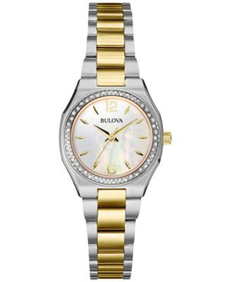 Bulova Women's Diamond (1/4 ct. t.w.) Two-Tone Stainless Steel Bracelet Watch 26mm 98R204