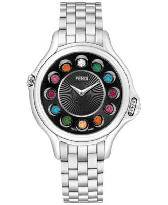 Fendi Timepieces Women's Swiss Crazy Carats Diamond Accent and Multi-Stone Accent Stainless Steel Br