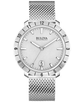 Bulova Accutron II Men's Moonview Stainless Steel Mesh Bracelet Watch 42mm 96B206