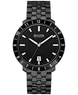 Bulova Accutron II Men's Moonview Black-Tone Stainless Steel Bracelet Watch 42mm 98B218