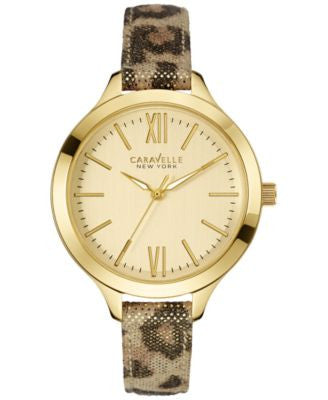 Caravelle New York by Bulova Women's Metallic Leopard Print Leather Strap Watch 37mm 44L161