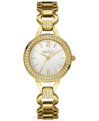 Caravelle New York by Bulova Women's Crystal Accent Gold-Tone Stainless Steel Bracelet Watch 28mm 44