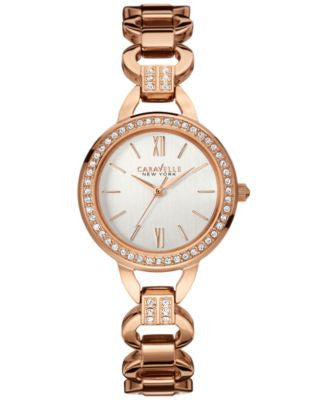Caravelle New York by Bulova Women's Crystal Accent Rose Gold-Tone Stainless Steel Bracelet Watch 28