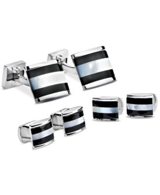 Ike Behar Onyx and Mother of Pearl Cufflinks and Studs Set