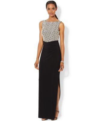 Lauren Ralph Lauren Sleeveless Sequined Geo-Pattern Gown