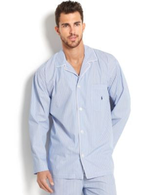 Polo Ralph Lauren Big and Tall Blue Andrew Stripe Men's Pajama Top