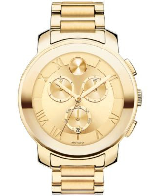 Movado Women's Swiss Chronograph Bold Gold Ion-Plated Stainless Steel Bracelet Watch 40mm 3600209