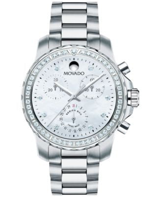 Movado Women's Swiss Chronograph Series 800 Diamond (2/3 ct. t.w.) Performance Steel Bracelet Watch