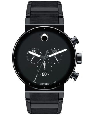 Movado Men's Swiss Chronograph Sapphire Synergy Black PVD Stainless Steel Bracelet Watch 42mm 060680
