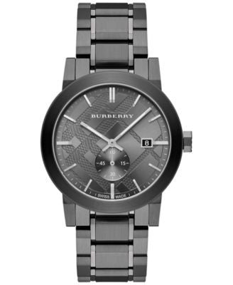 Burberry Men's Swiss Light Gray Ion-Plated Stainless Steel Bracelet Watch 42mm BU9902