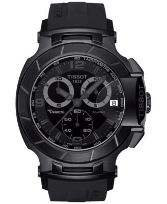 Tissot Men's Swiss Chronograph T-Race Black Rubber Strap Watch 50x45mm T0484173705700