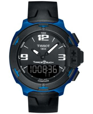 Tissot Men's Swiss Analog-Digital T-Race Touch Black Rubber Strap Watch 42mm T0814209705700