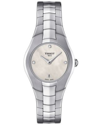 Tissot Women's Swiss T-Round Diamond Accent Stainless Steel Bracelet Watch 26mm T0960091111600