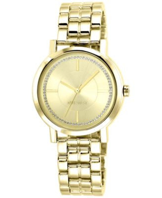 Nine West Women's Gold-Tone Adjustable Bracelet Watch 38mm NW/1642CHGB