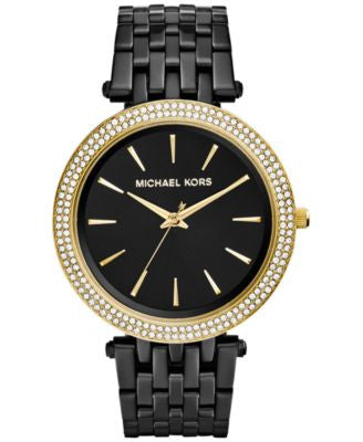 Michael Kors Women's Darci Black Ion-Plated Stainless Steel Bracelet Watch 39mm MK3322