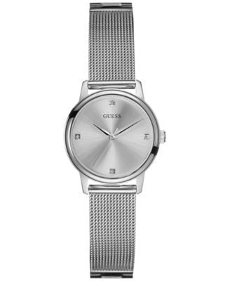 GUESS Women's Diamond Accent Silver-Tone Mesh Bracelet Watch 28mm U0532L1