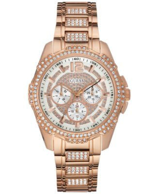 GUESS Women's Crystal Accent Rose Gold-Tone Bracelet Watch 42mm U0286L2