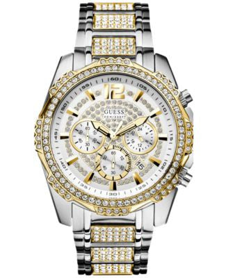 GUESS Men's Chronograph Crystal Accent Two-Tone Bracelet Watch 47mm U0291G4