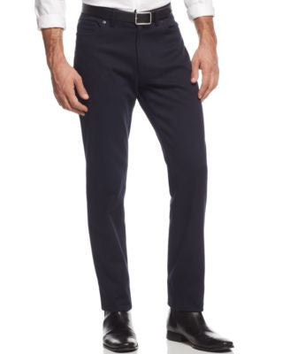 Vince Camuto Men's Black Crosshatch Stretch-Fabric Pants Slim-Fit Pants