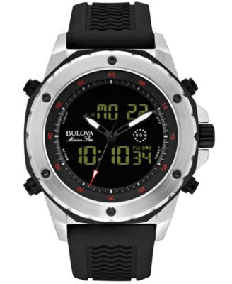 Bulova Men's Analog-Digital Chronograph Marine Star Black Silicone Strap Watch 50mm 98C119