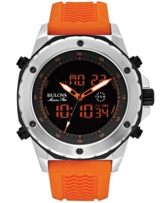 Bulova Men's Analog-Digital Chronograph Marine Star Orange Silicone Strap Watch 50mm 98C118