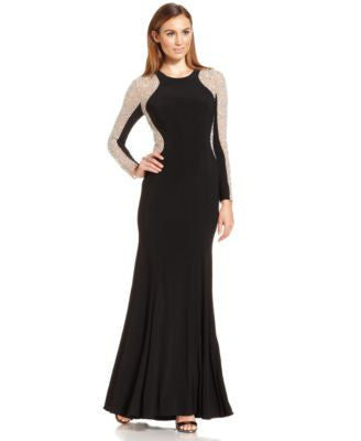 Xscape Petite Long-Sleeve Studded Colorblocked Gown