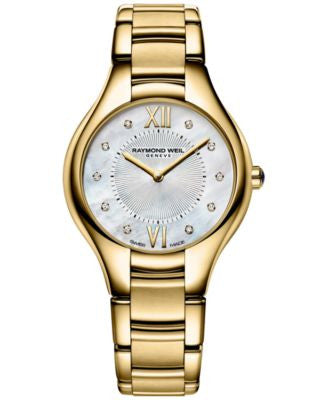 RAYMOND WEIL Women's Swiss Noemia Diamond Accent Gold-Tone PVD Stainless Steel Bracelet Watch 32mm 5