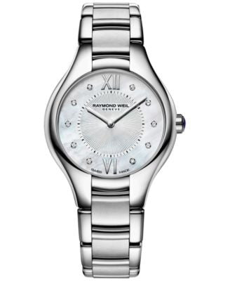 RAYMOND WEIL Women's Swiss Noemia Diamond Accent Stainless Steel Bracelet Watch 27mm 5127-ST-00985