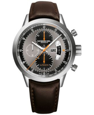 RAYMOND WEIL Men's Swiss Automatic Chronograph Freelancer Brown Leather Strap Watch 45mm 7745-TIC-05