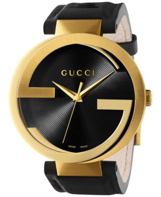 Gucci Unisex Swiss Interlocking Latin Grammy® Special Edition Black Leather Strap Watch 42mm YA13320