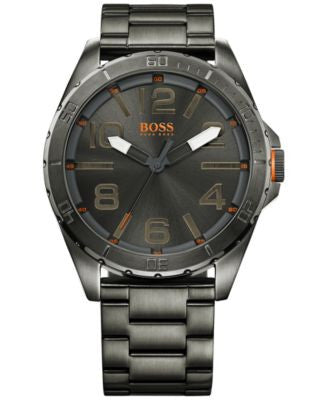 BOSS Orange Men's Berlin Gray Ion-Plated Steel Bracelet Watch 48mm 1512999