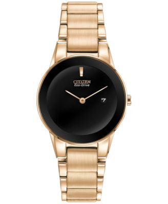 Citizen Women's Eco-Drive Axiom Rose Gold-Tone Stainless Steel Bracelet Watch 30mm GA1053-52E