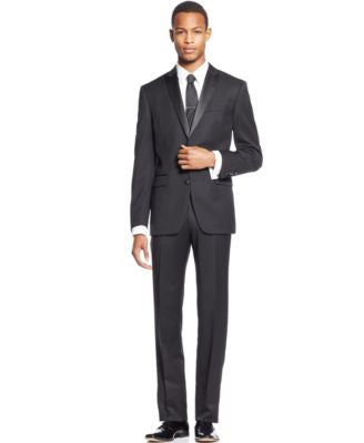 Bar III Slim-Fit Black Peak Lapel Tuxedo Separates