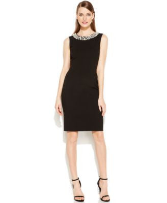 Calvin Klein Petite Beaded Sheath Dress