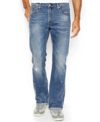 Levi's Men's 527 Slim-Fit Bootcut Ripped Jeans, Damaged Stone
