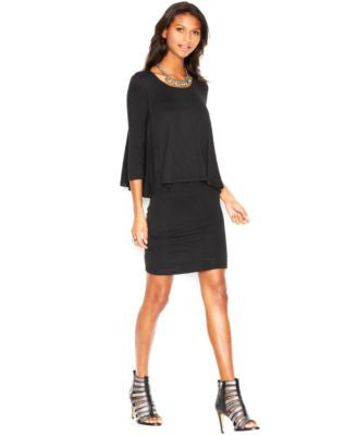 Bar III Three-Quarter-Sleeve Layered Dress
