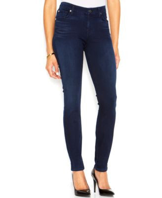 7 For All Mankind Mid-Rise Skinny Jeans, Slim Illusion Lux Rich Blue Wash