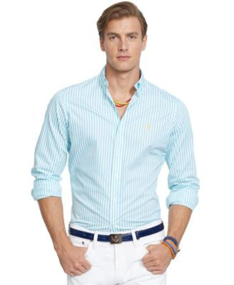 Polo Ralph Lauren Men's Long Sleeve Striped Poplin Shirt