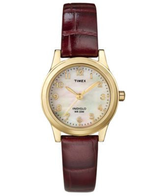 Timex Women's Burgundy Croc-Embossed Leather Strap Watch 25mm T21693UM
